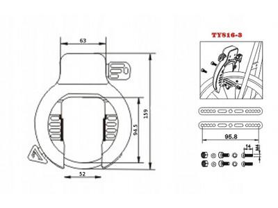 Велосипедный замок TONYON TY816  для заднего колеса