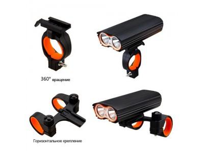 Фара велосипедная  LR-Y2 Pro-2T6, Mega Light, индикатор заряда, аккум-р 4500 mAh,ЗУ microUSB